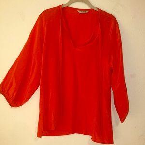 Orange Tucker silk blouse